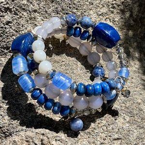Chico's Silvertone Gemstone Crystal Coil Bracelet